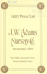 Cover of: 1927 price list | J.W. Adams Nursery Co