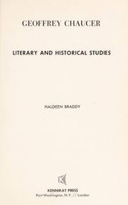 Cover of: Geoffrey Chaucer: literary and historical studies