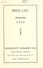 Cover of: Price list | Westcott Nursery Co