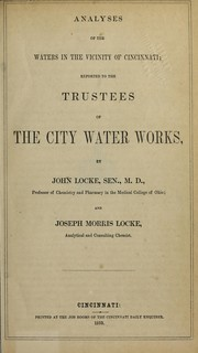 Cover of: Analyses of the waters in the vicinity of Cincinnati