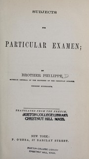 Cover of: Subjects for particular examen | F. P. B.