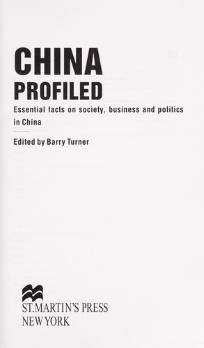 China profiled by edited by Barry Turner