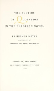 Cover of: The poetics of quotation in the European novel