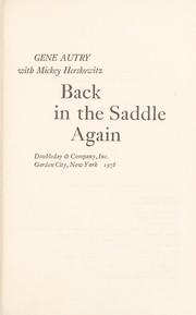 Cover of: Back in the saddle again