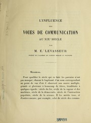 Cover of: L'influence des voies de communication au XIXe sie  cle