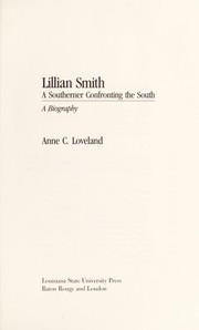 Cover of: Lillian Smith, a southerner confronting the South