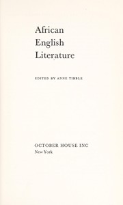 African-English literature by Anne Northgrave Tibble