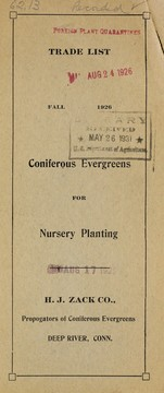 Cover of: Trade list of coniferous evergreens for nursery planting | H.J. Zack Co