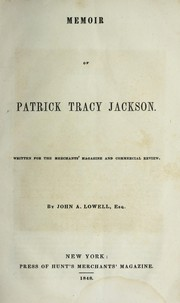 Cover of: Memoir of Patrick Tracy Jackson