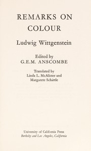 Cover of: Remarks on colour | Ludwig Wittgenstein