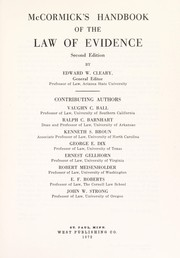 Cover of: McCormick's handbook of the law of evidence