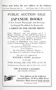 Cover of: Japanese books, a few French monographs and drawings, an original woodblock by Kuniyoshi, a group of fine figure prints