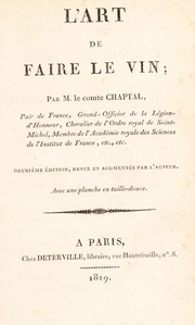 Cover of: L'art de faire le vin
