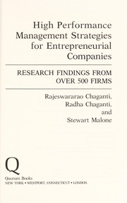 Cover of: High performance management strategies for entrepreneurial companies | Rajeswararao Chaganti
