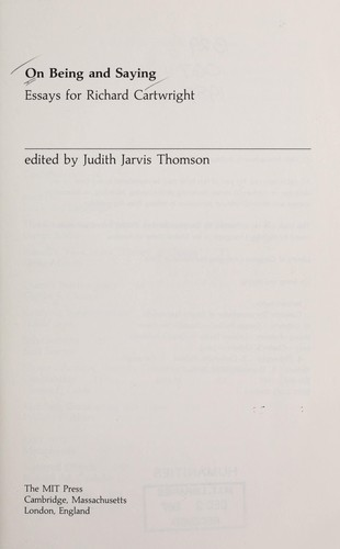 On Being and Saying by Judith Jarvis Thomson