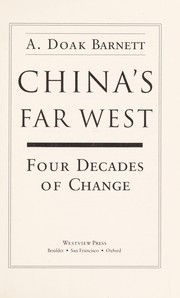 Cover of: China's far West