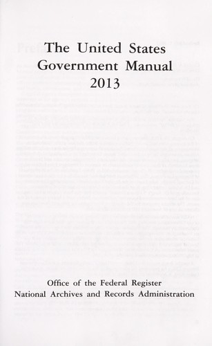 United states government manual 2013 by