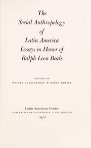Cover of: The Social anthropology of Latin America