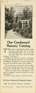 Cover of: Our condensed nursery catalog | Denver Nursery and Landscape Company