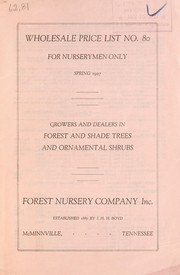 Cover of: Wholesale price list | Forest Nursery Co
