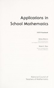 Cover of: Applications in school mathematics |