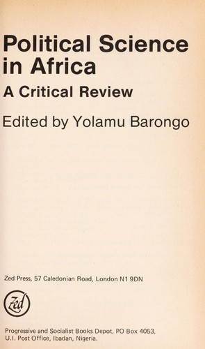 Political science in Africa : a critical review by