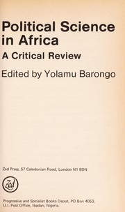 Cover of: Political science in Africa : a critical review |