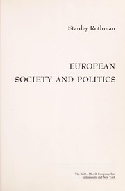 Cover of: European society and politics