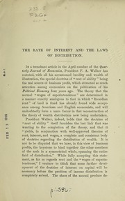 Cover of: The rate of interest and the laws of distribution