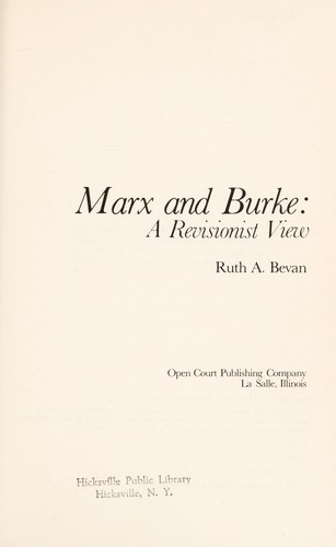 Marx and Burke by Ruth A. Bevan