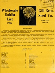 Cover of: Wholesale dahlia list