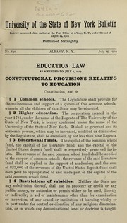 Cover of: Education law as amended to July 1, 1919 ...