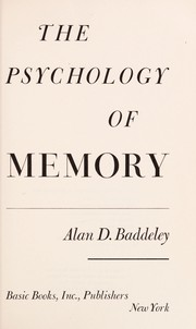Cover of: The psychology of memory