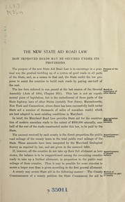 Cover of: The new state aid road law | Maryland Geological Survey. Highway Division