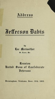 Cover of: Address [on] Jefferson Davis | Meriwether, Lee