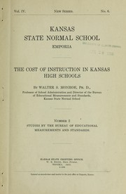 Cover of: Cost of instruction in Kansas high schools ...