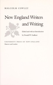 Cover of: New England writers and writing | Malcolm Cowley