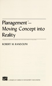 Cover of: Planagement | Robert M. Randolph