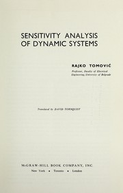 Cover of: Sensitivity analysis of dynamic systems