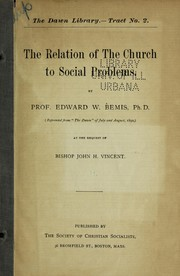 Cover of: The relation of the Church to social problems