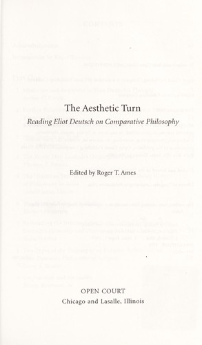 The aesthetic turn : reading Eliot Deutsch on comparative philosophy by