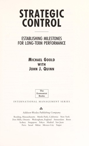 Strategic control by Michael Goold