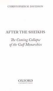 Cover of: After the sheikhs | Christopher M. Davidson