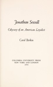 Cover of: Jonathan Sewall; odyssey of an American loyalist