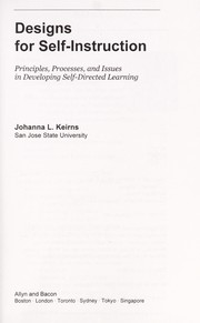 Cover of: Designs for self-instruction | Johanna L. Keirns