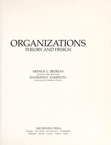 Organizations by Arthur G. Bedeian