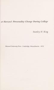 Cover of: Five lives at Harvard: personality change during college