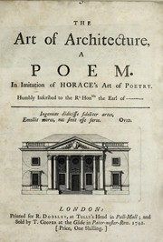 Cover of: The art of architecture, a poem | John Gwynn