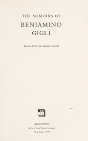 Cover of: The memoirs of Beniamino Gigli