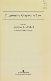 Cover of: Progressive corporate law |